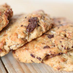Chocolade Banaan koekjes op houten plank