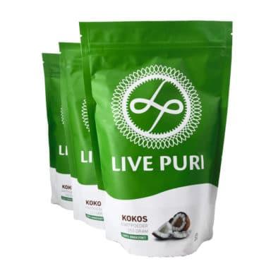 Kokos eiwitpoeder ongezoet voordeelverpakking Live Puri