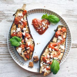 Live Puri eiwitrijke gevulde aubergine