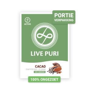 chocolade eiwitpoeder ongezoet portieverpakking Live Puri
