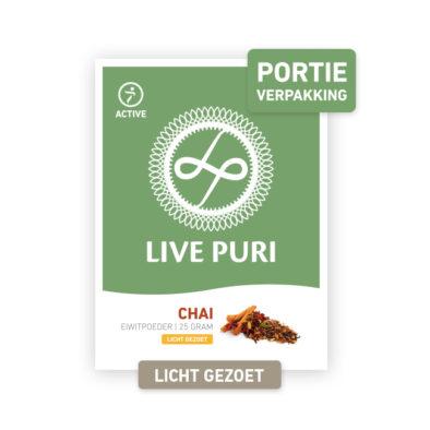Chai eiwitpoeder licht gezoet Live Puri portieverpakking
