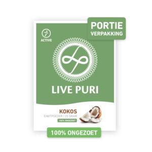 Kokos eiwitpoeder ongezoet portieverpakking Live Puri