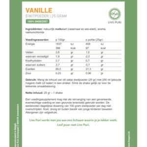 Portieverpakking vanille ongezoet eiwitpoeder etiket