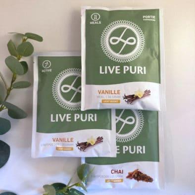 licht gezoet proefpakket Live Puri eiwitpoeder